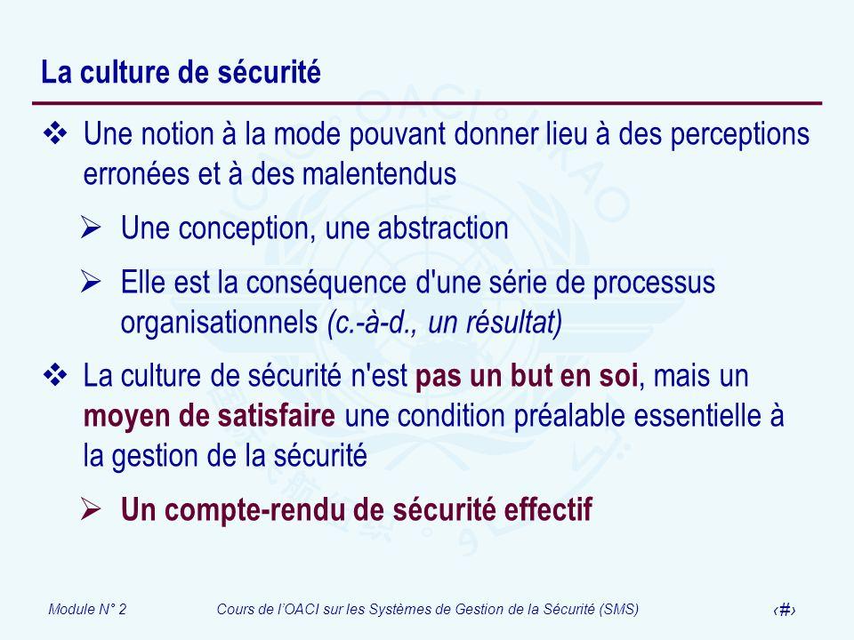 Module N° 2Cours de lOACI sur les Systèmes de Gestion de la Sécurité (SMS) 34 La culture de sécurité Une notion à la mode pouvant donner lieu à des pe