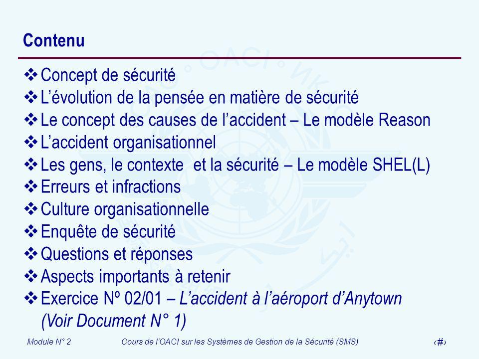 Module N° 2Cours de lOACI sur les Systèmes de Gestion de la Sécurité (SMS) 4 Contenu Concept de sécurité Lévolution de la pensée en matière de sécurit