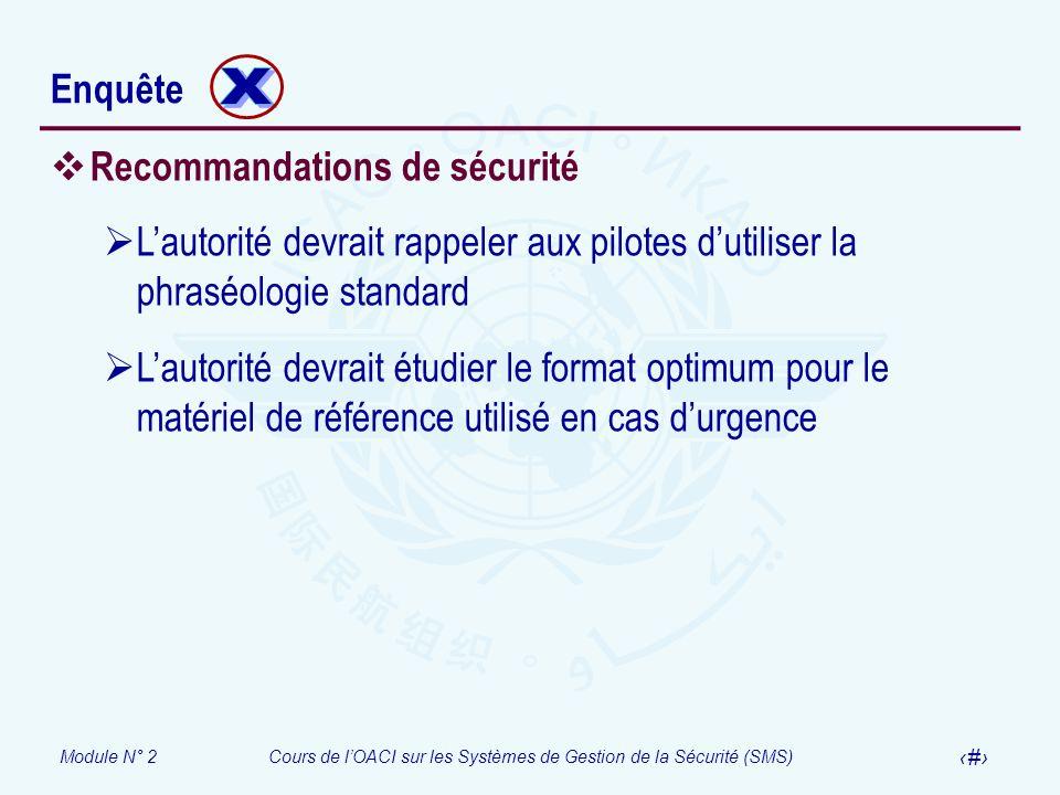 Module N° 2Cours de lOACI sur les Systèmes de Gestion de la Sécurité (SMS) 44 Enquête Recommandations de sécurité Lautorité devrait rappeler aux pilot
