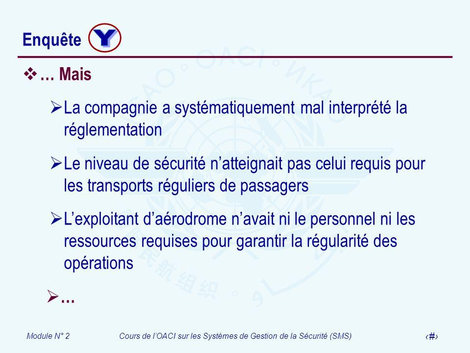 Module N° 2Cours de lOACI sur les Systèmes de Gestion de la Sécurité (SMS) 48 Enquête … Mais La compagnie a systématiquement mal interprété la régleme