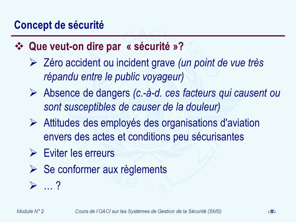 Module N° 2Cours de lOACI sur les Systèmes de Gestion de la Sécurité (SMS) 5 Concept de sécurité Que veut-on dire par « sécurité »? Zéro accident ou i