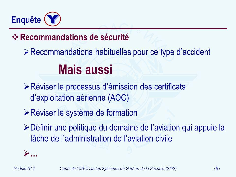 Module N° 2Cours de lOACI sur les Systèmes de Gestion de la Sécurité (SMS) 52 Enquête Recommandations de sécurité Recommandations habituelles pour ce