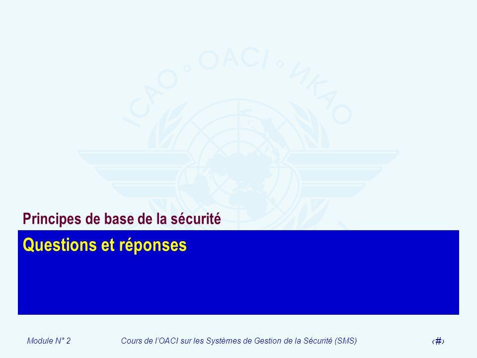 Module N° 2Cours de lOACI sur les Systèmes de Gestion de la Sécurité (SMS) 56 Questions et réponses Principes de base de la sécurité