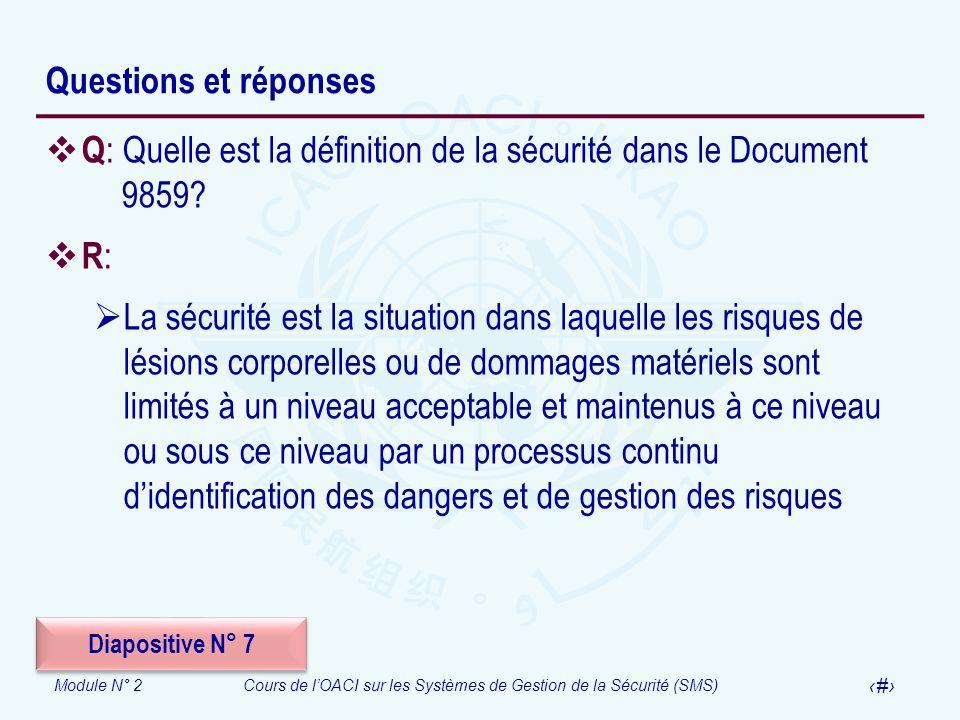 Module N° 2Cours de lOACI sur les Systèmes de Gestion de la Sécurité (SMS) 57 Questions et réponses Q : Quelle est la définition de la sécurité dans l