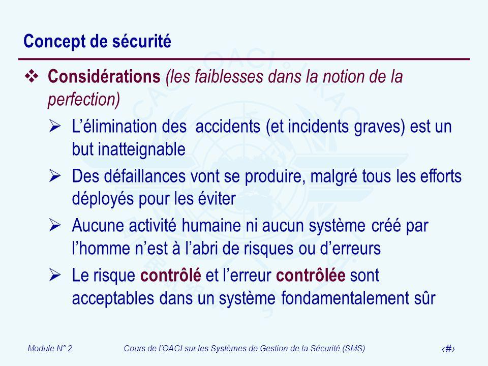 Module N° 2Cours de lOACI sur les Systèmes de Gestion de la Sécurité (SMS) 6 Concept de sécurité Considérations (les faiblesses dans la notion de la p