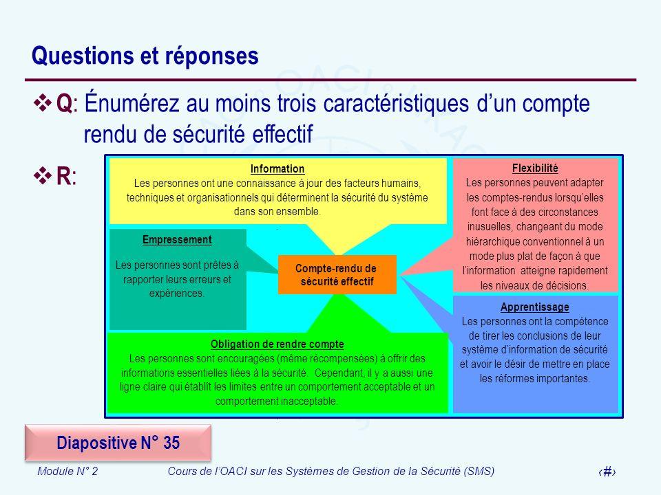 Module N° 2Cours de lOACI sur les Systèmes de Gestion de la Sécurité (SMS) 60 Questions et réponses Q : Énumérez au moins trois caractéristiques dun c