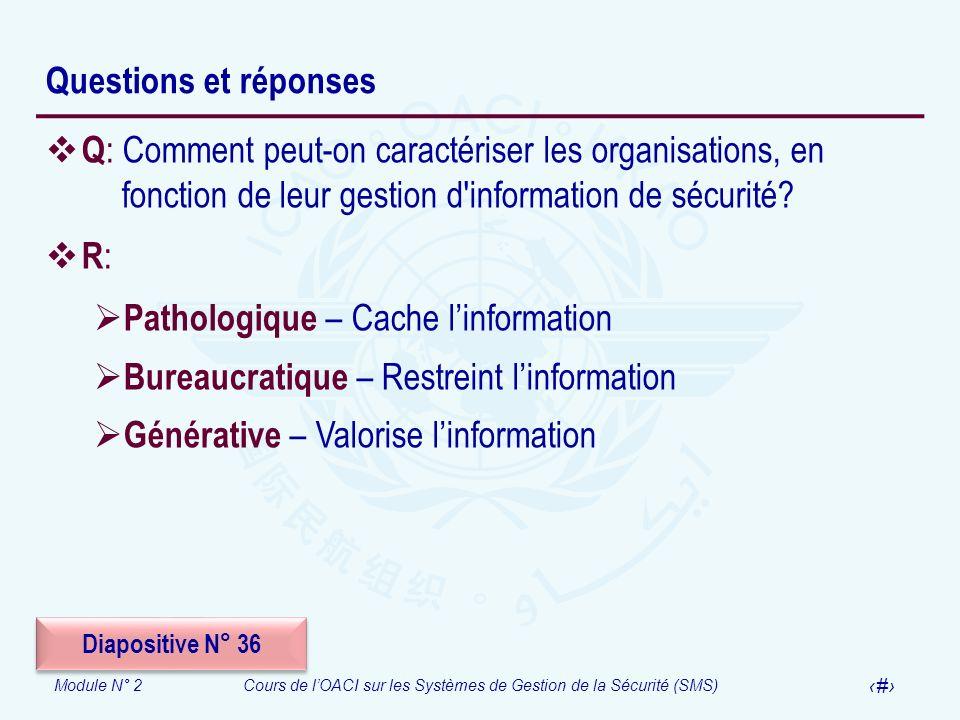 Module N° 2Cours de lOACI sur les Systèmes de Gestion de la Sécurité (SMS) 61 Questions et réponses Q : Comment peut-on caractériser les organisations