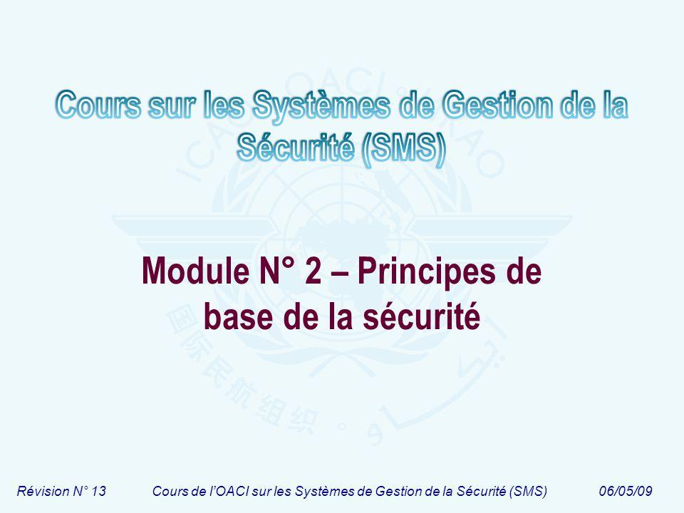 Révision N° 13Cours de lOACI sur les Systèmes de Gestion de la Sécurité (SMS)06/05/09 Module N° 2 – Principes de base de la sécurité