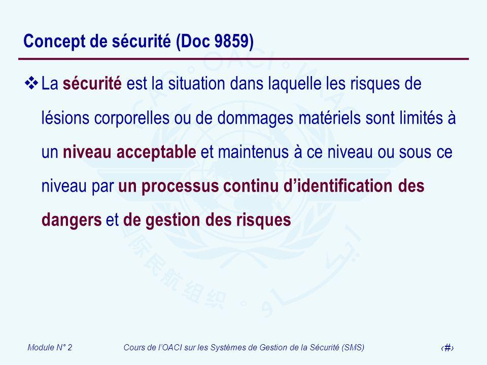 Module N° 2Cours de lOACI sur les Systèmes de Gestion de la Sécurité (SMS) 7 Concept de sécurité (Doc 9859) La sécurité est la situation dans laquelle