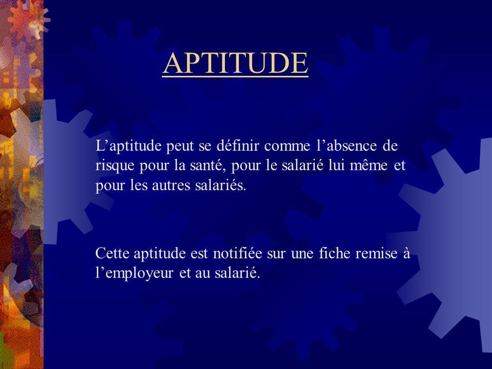 APTITUDE Laptitude peut se définir comme labsence de risque pour la santé, pour le salarié lui même et pour les autres salariés. Cette aptitude est no
