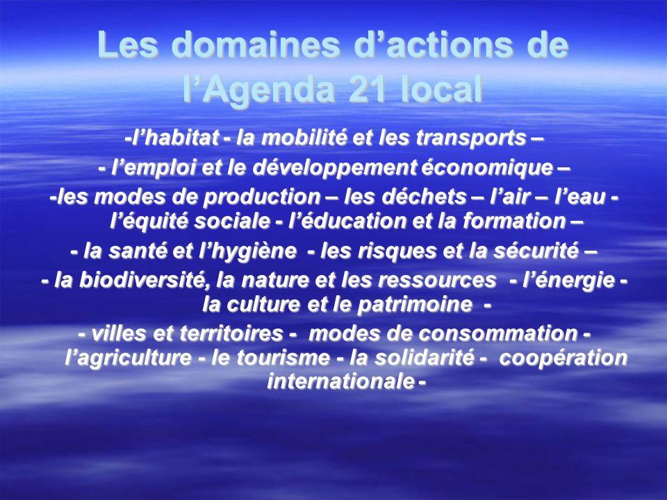 Les domaines dactions de lAgenda 21 local -lhabitat - la mobilité et les transports – - lemploi et le développement économique – -les modes de production – les déchets – lair – leau - léquité sociale - léducation et la formation – - la santé et lhygiène - les risques et la sécurité – - la biodiversité, la nature et les ressources - lénergie - la culture et le patrimoine - - villes et territoires - modes de consommation - lagriculture - le tourisme - la solidarité - coopération internationale -