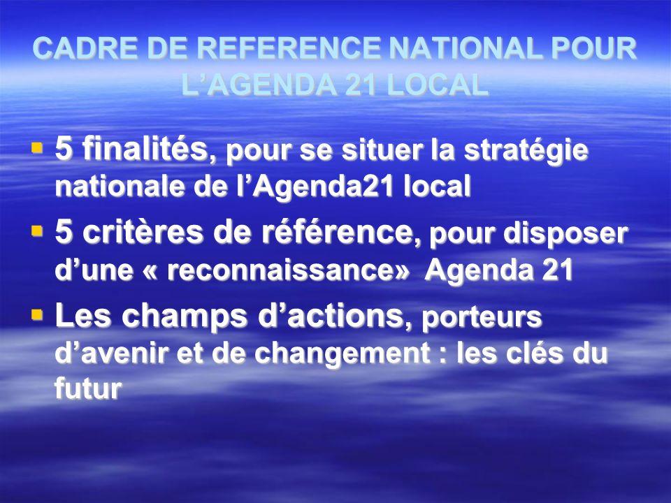 CADRE DE REFERENCE NATIONAL POUR LAGENDA 21 LOCAL 5 finalités, pour se situer la stratégie nationale de lAgenda21 local 5 finalités, pour se situer la stratégie nationale de lAgenda21 local 5 critères de référence, pour disposer dune « reconnaissance» Agenda 21 5 critères de référence, pour disposer dune « reconnaissance» Agenda 21 Les champs dactions, porteurs davenir et de changement : les clés du futur Les champs dactions, porteurs davenir et de changement : les clés du futur