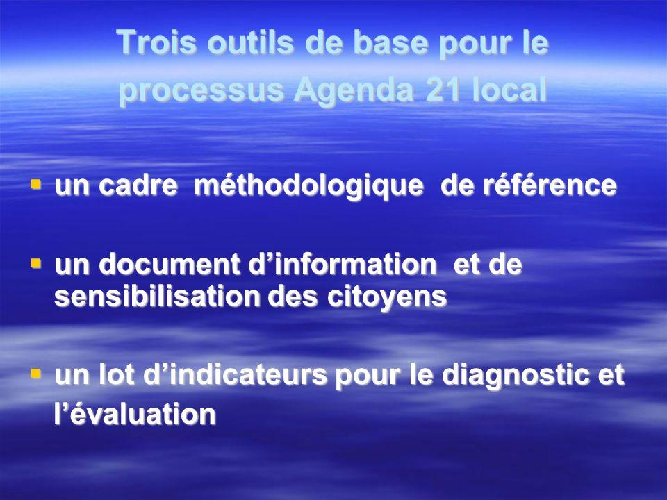 Trois outils de base pour le processus Agenda 21 local un cadre méthodologique de référence un cadre méthodologique de référence un document dinformat