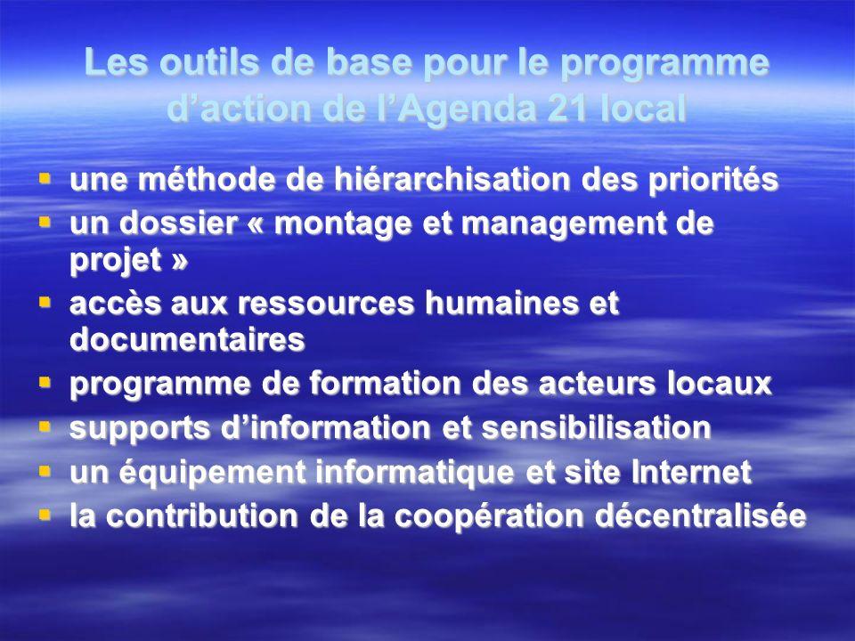 Les outils de base pour le programme daction de lAgenda 21 local une méthode de hiérarchisation des priorités une méthode de hiérarchisation des prior