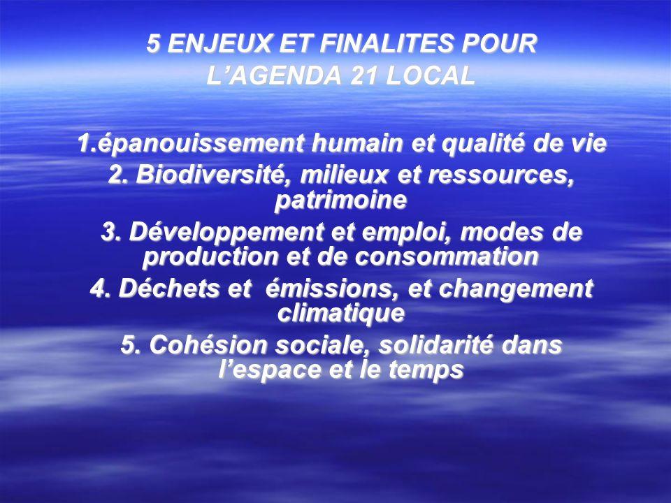 5 ENJEUX ET FINALITES POUR LAGENDA 21 LOCAL 1.épanouissement humain et qualité de vie 2. Biodiversité, milieux et ressources, patrimoine 3. Développem