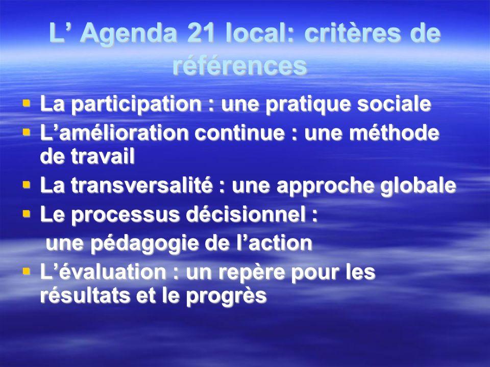 L Agenda 21 local: critères de références L Agenda 21 local: critères de références La participation : une pratique sociale La participation : une pra