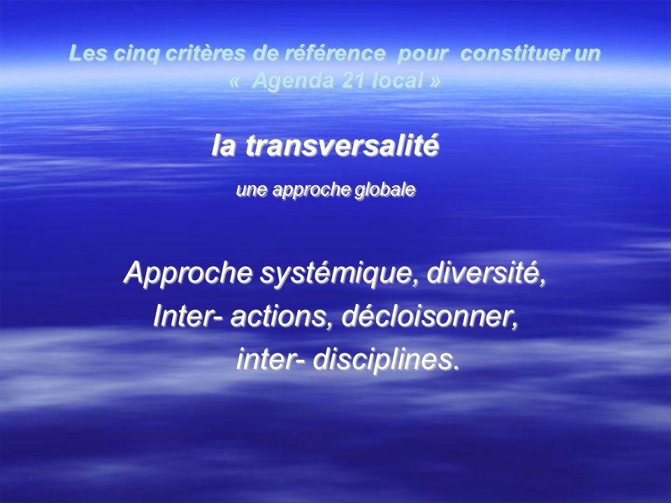 Les cinq critères de référence pour constituer un « Agenda 21 local » la transversalité la transversalité une approche globale une approche globale Approche systémique, diversité, Inter- actions, décloisonner, inter- disciplines.