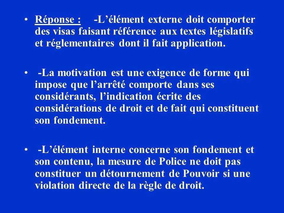 Réponse : -Lélément externe doit comporter des visas faisant référence aux textes législatifs et réglementaires dont il fait application. -La motivati