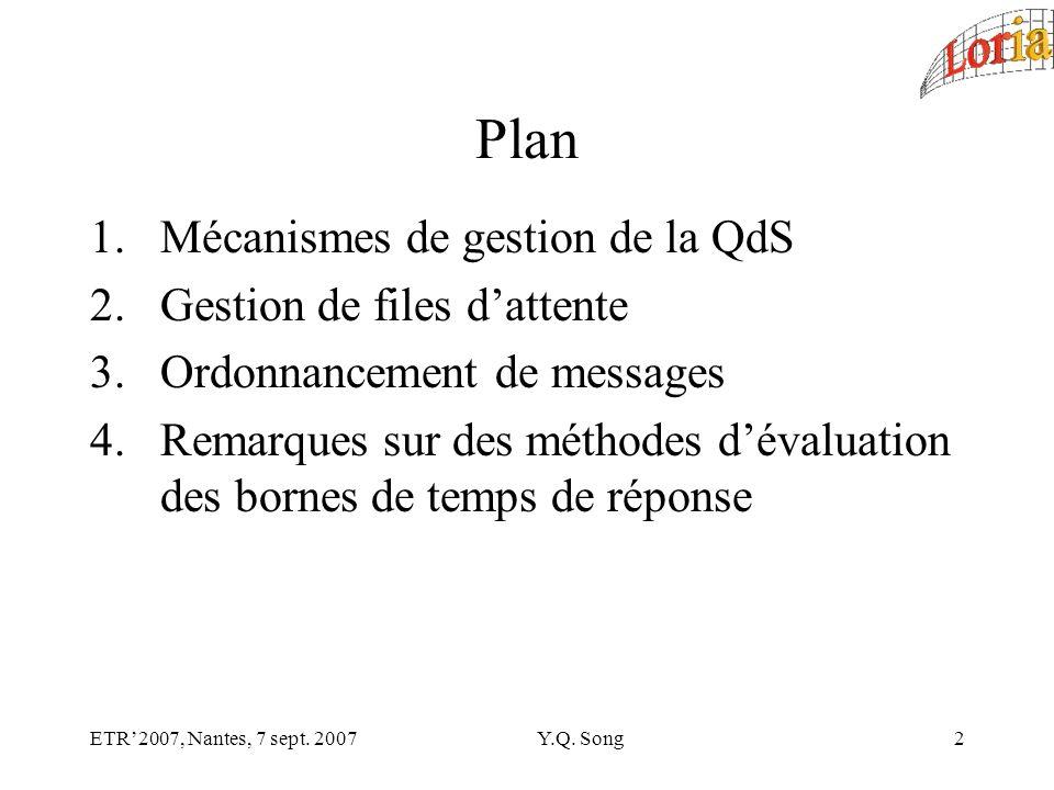ETR2007, Nantes, 7 sept. 2007Y.Q. Song23 3 - Ordonnancement de message