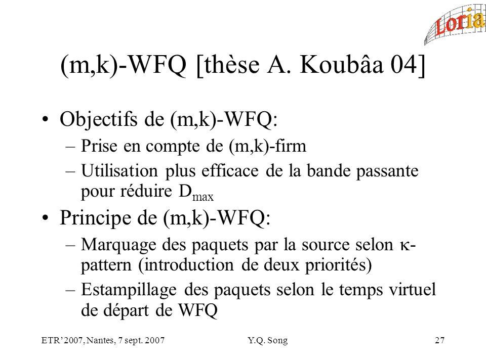 ETR2007, Nantes, 7 sept. 2007Y.Q. Song27 (m,k)-WFQ [thèse A.