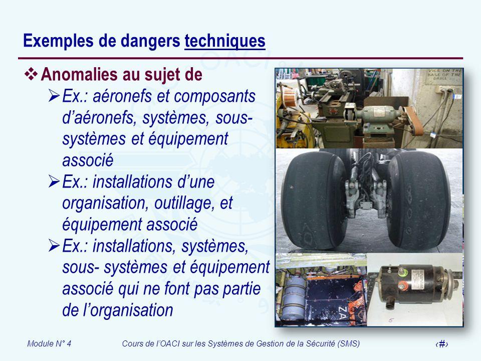 Module N° 4Cours de lOACI sur les Systèmes de Gestion de la Sécurité (SMS) 10 Exemples de dangers techniques Anomalies au sujet de Ex.: aéronefs et co