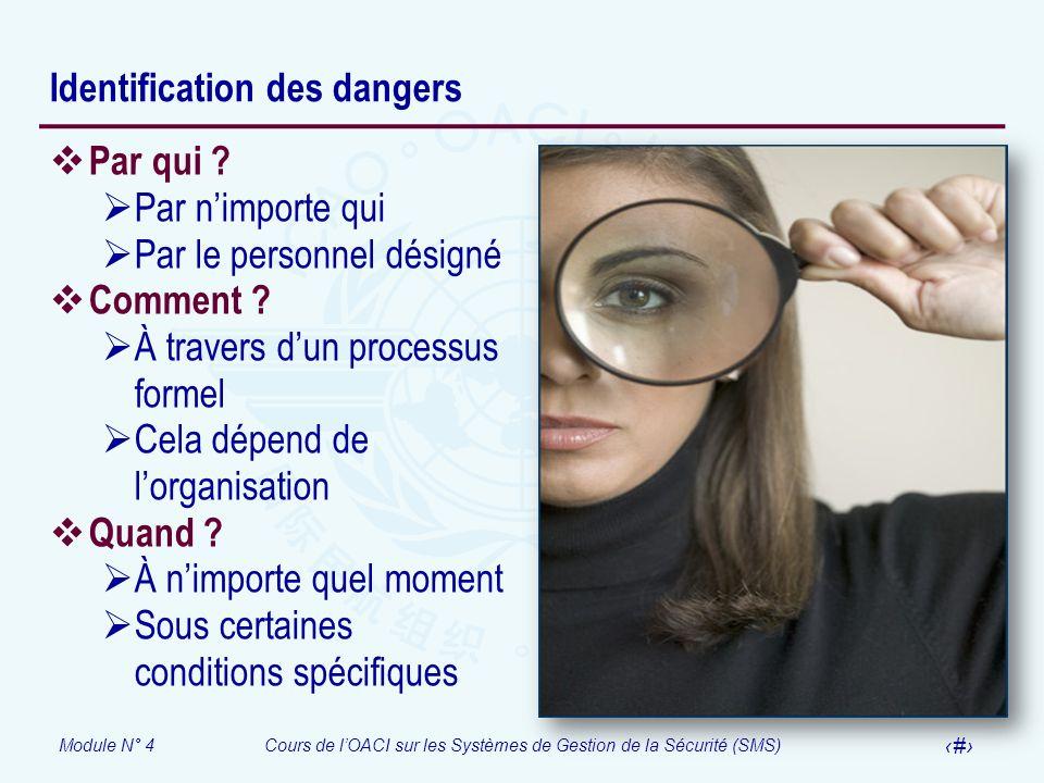 Module N° 4Cours de lOACI sur les Systèmes de Gestion de la Sécurité (SMS) 16 Identification des dangers Par qui ? Par nimporte qui Par le personnel d
