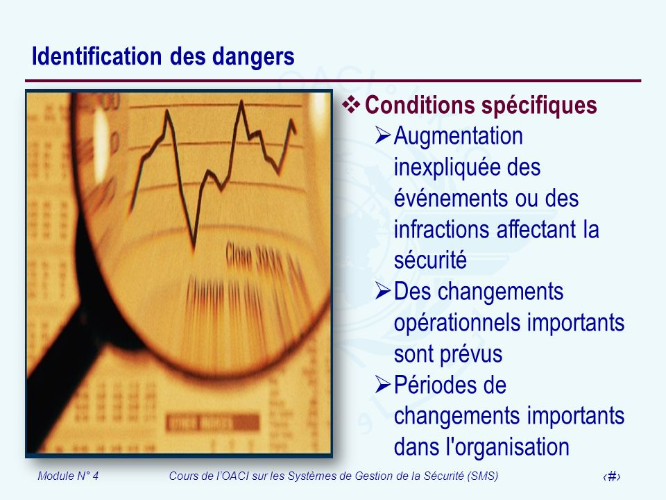 Module N° 4Cours de lOACI sur les Systèmes de Gestion de la Sécurité (SMS) 17 Identification des dangers Conditions spécifiques Augmentation inexpliqu