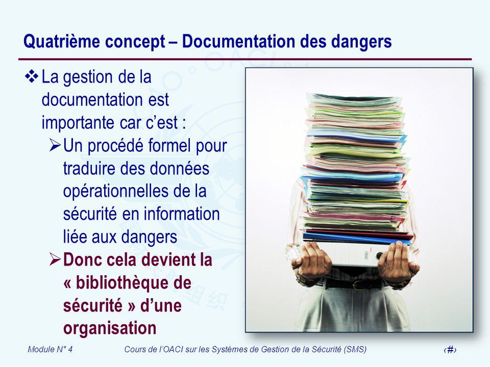 Module N° 4Cours de lOACI sur les Systèmes de Gestion de la Sécurité (SMS) 20 Quatrième concept – Documentation des dangers La gestion de la documenta