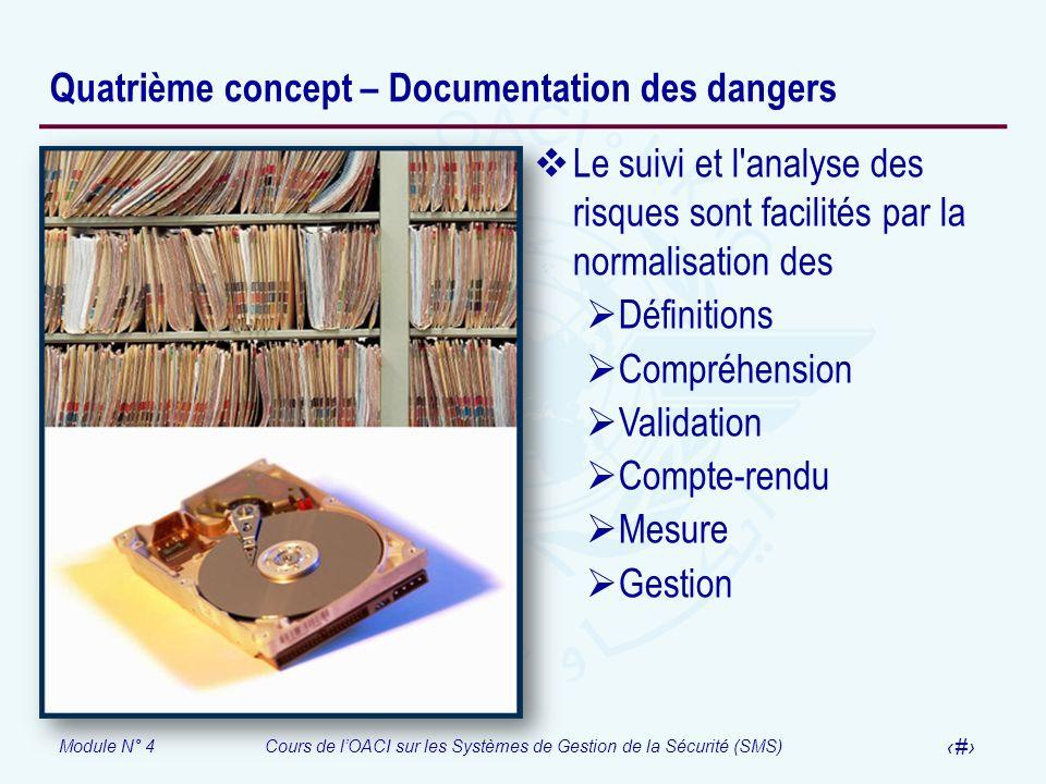 Module N° 4Cours de lOACI sur les Systèmes de Gestion de la Sécurité (SMS) 21 Quatrième concept – Documentation des dangers Le suivi et l'analyse des