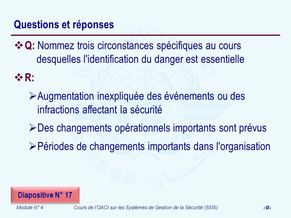 Module N° 4Cours de lOACI sur les Systèmes de Gestion de la Sécurité (SMS) 27 Questions et réponses Q: Nommez trois circonstances spécifiques au cours