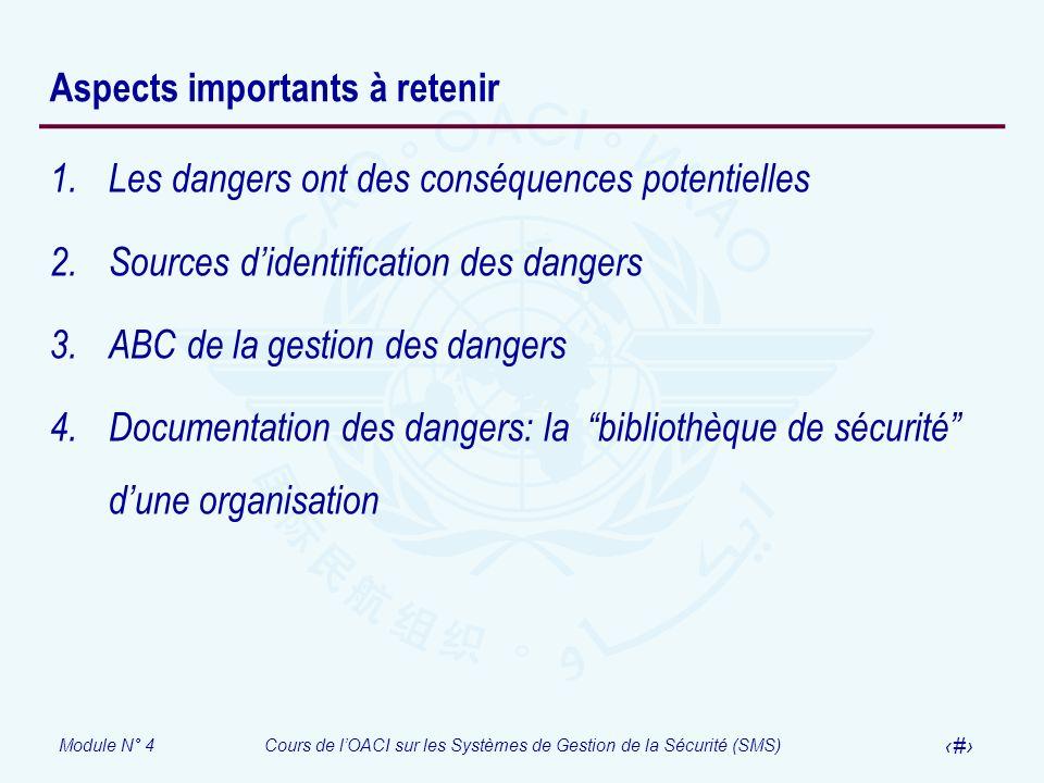 Module N° 4Cours de lOACI sur les Systèmes de Gestion de la Sécurité (SMS) 28 Aspects importants à retenir 1.Les dangers ont des conséquences potentie