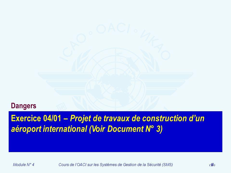 Module N° 4Cours de lOACI sur les Systèmes de Gestion de la Sécurité (SMS) 29 Exercice 04/01 – Projet de travaux de construction dun aéroport internat