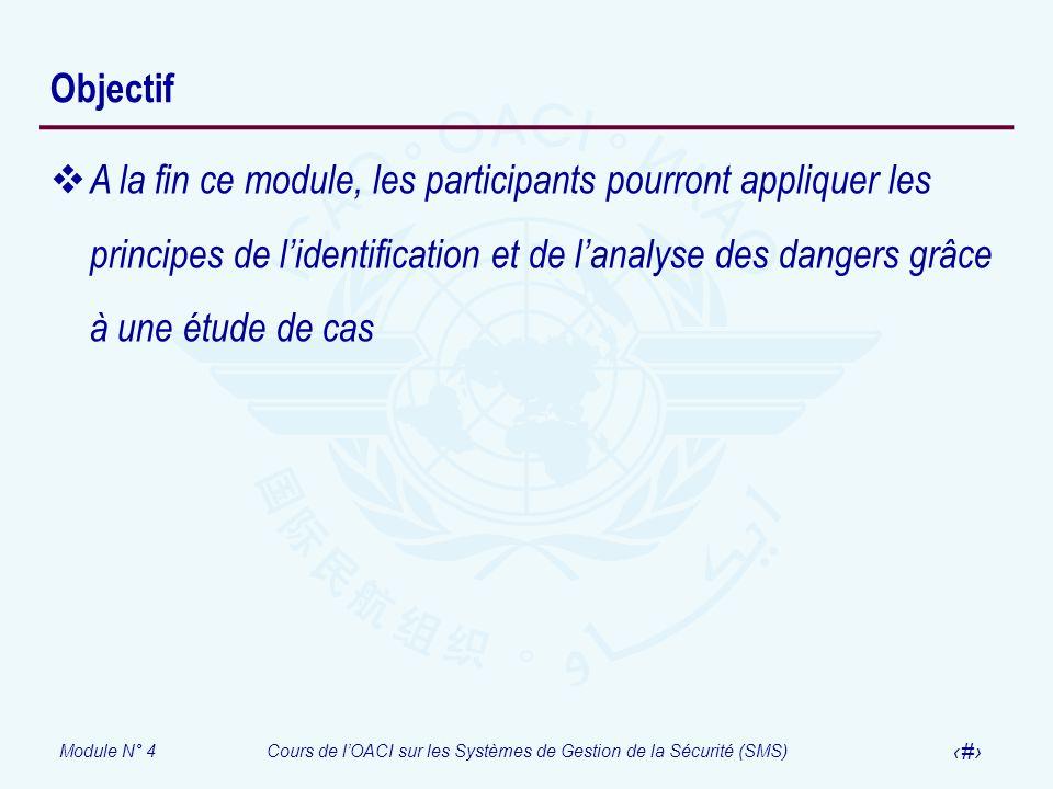 Module N° 4Cours de lOACI sur les Systèmes de Gestion de la Sécurité (SMS) 3 Objectif A la fin ce module, les participants pourront appliquer les prin