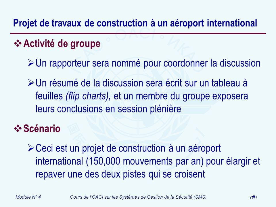 Module N° 4Cours de lOACI sur les Systèmes de Gestion de la Sécurité (SMS) 30 Projet de travaux de construction à un aéroport international Activité d