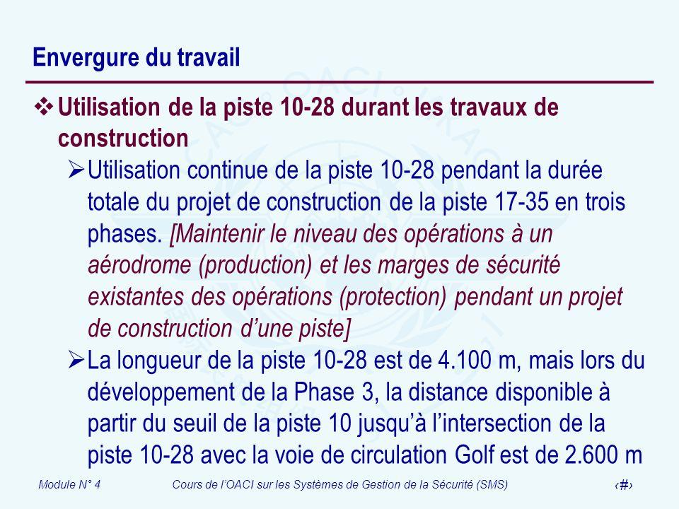 Module N° 4Cours de lOACI sur les Systèmes de Gestion de la Sécurité (SMS) 38 Envergure du travail Utilisation de la piste 10-28 durant les travaux de