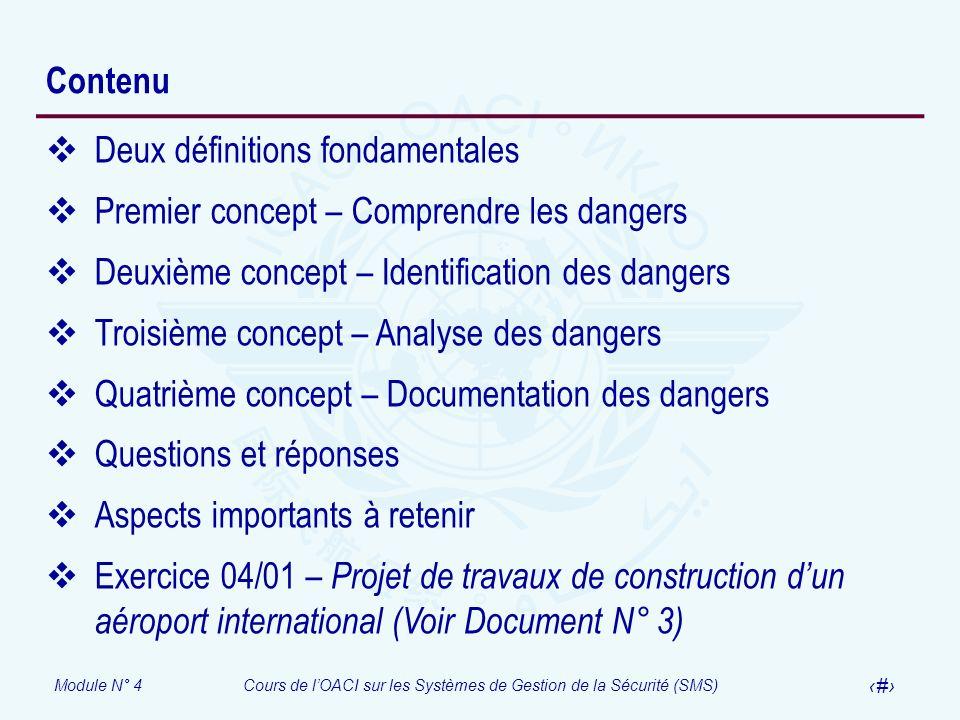 Module N° 4Cours de lOACI sur les Systèmes de Gestion de la Sécurité (SMS) 4 Contenu Deux définitions fondamentales Premier concept – Comprendre les d
