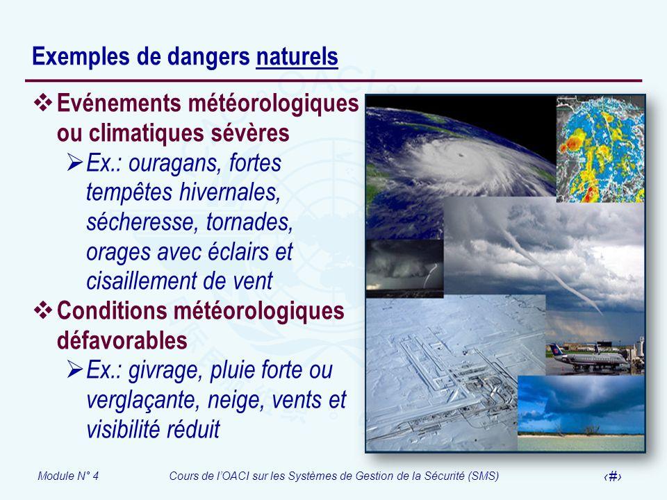 Module N° 4Cours de lOACI sur les Systèmes de Gestion de la Sécurité (SMS) 8 Exemples de dangers naturels Evénements météorologiques ou climatiques sé