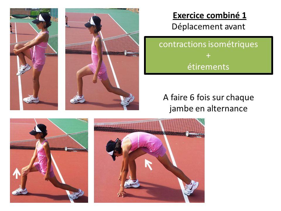 A faire 6 fois sur chaque jambe en alternance Exercice combiné 1 Déplacement avant contractions isométriques + étirements
