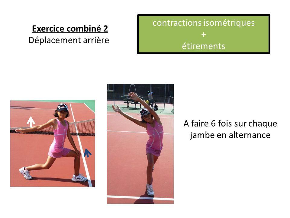 A faire 6 fois sur chaque jambe en alternance Exercice combiné 2 Déplacement arrière contractions isométriques + étirements