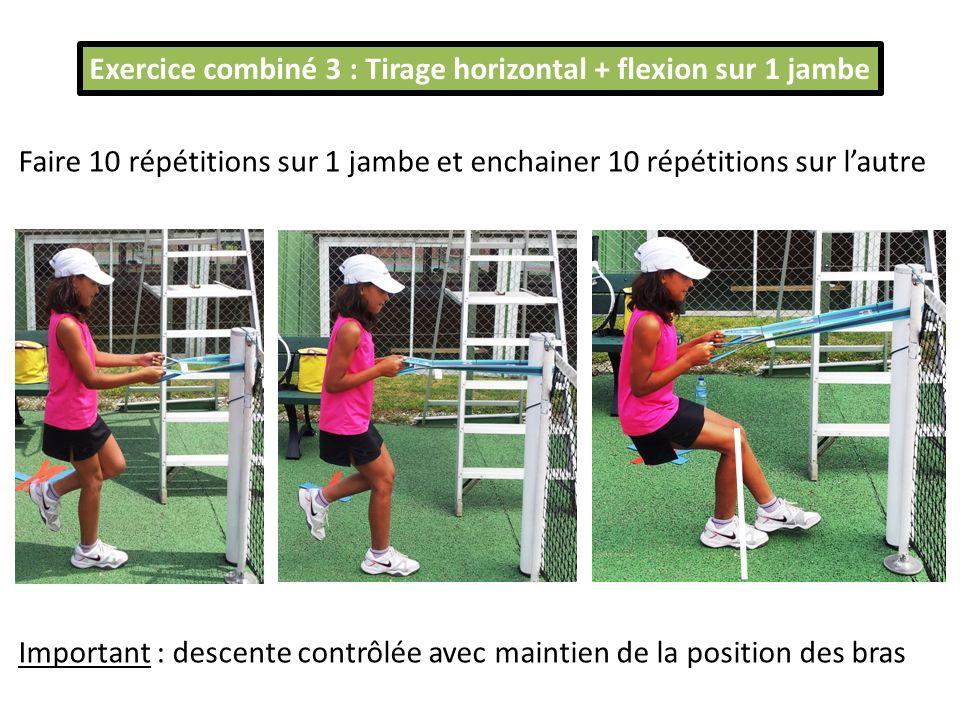 Exercice combiné 3 : Tirage horizontal + flexion sur 1 jambe Faire 10 répétitions sur 1 jambe et enchainer 10 répétitions sur lautre Important : desce