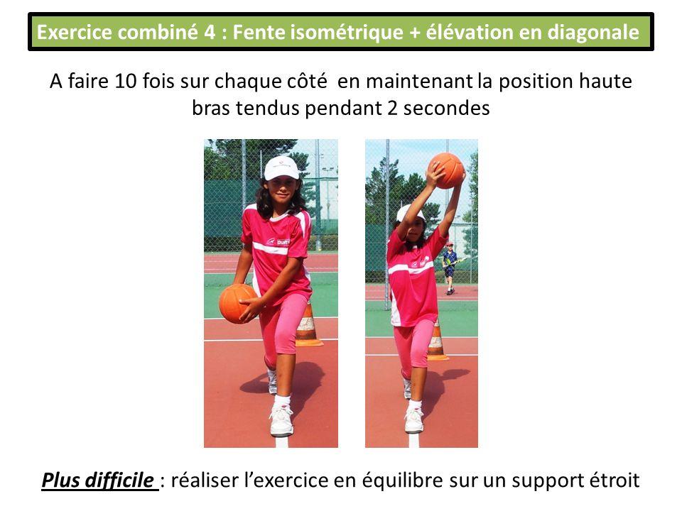 Exercice combiné 4 : Fente isométrique + élévation en diagonale A faire 10 fois sur chaque côté en maintenant la position haute bras tendus pendant 2