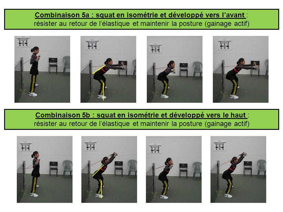 Combinaison 5b : squat en isométrie et développé vers le haut : résister au retour de lélastique et maintenir la posture (gainage actif) Combinaison 5