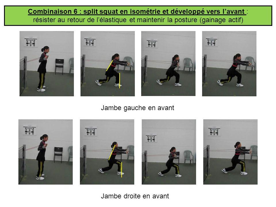 Combinaison 6 : split squat en isométrie et développé vers lavant : résister au retour de lélastique et maintenir la posture (gainage actif) Jambe gau