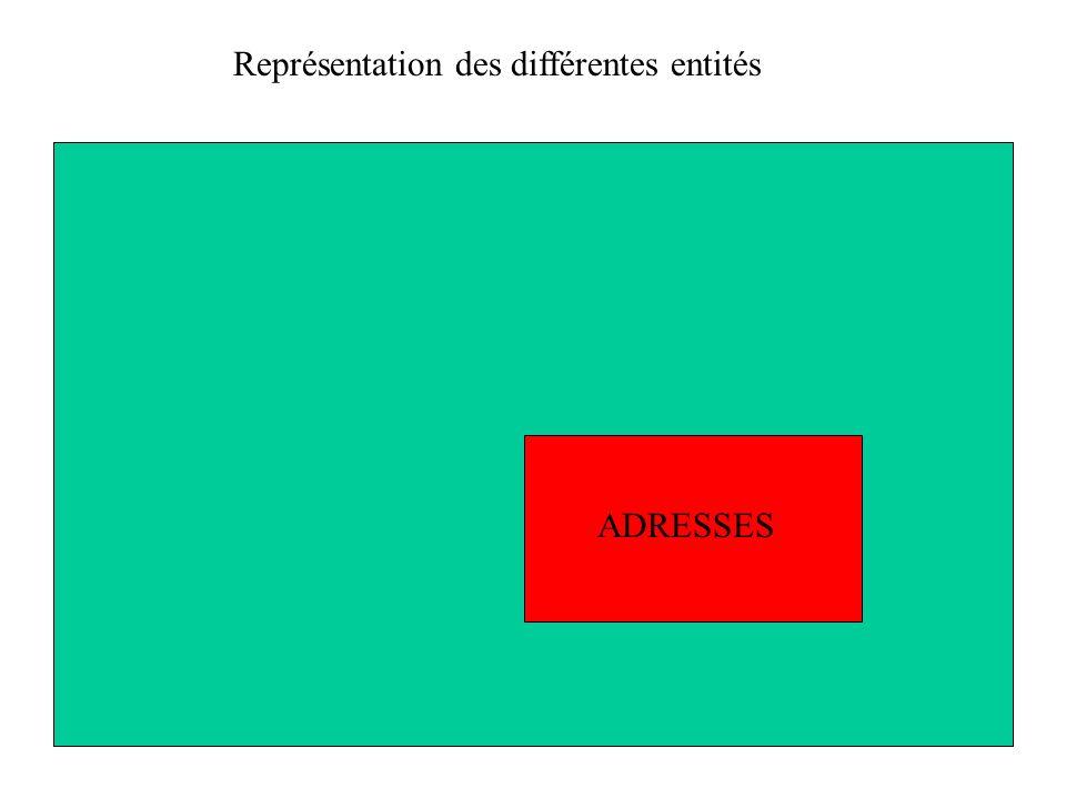 ADRESSES Représentation des différentes entités