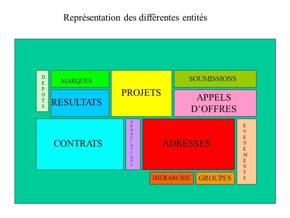 ADRESSESCONTRATS RESULTATS PROJETS APPELS DOFFRES SOUMISSIONS DEPOTSDEPOTS MARQUES NEGOCIATIONSNEGOCIATIONS Représentation des différentes entités HIE