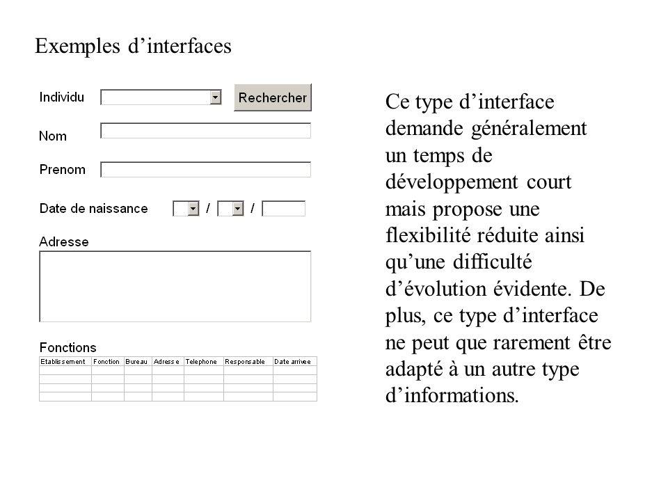 Exemples dinterfaces Ce type dinterface demande généralement un temps de développement court mais propose une flexibilité réduite ainsi quune difficul