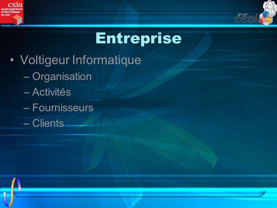 Entreprise Voltigeur Informatique –Organisation –Activités –Fournisseurs –Clients