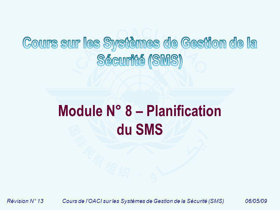 Révision N° 13Cours de lOACI sur les Systèmes de Gestion de la Sécurité (SMS)06/05/09 Module N° 8 – Planification du SMS