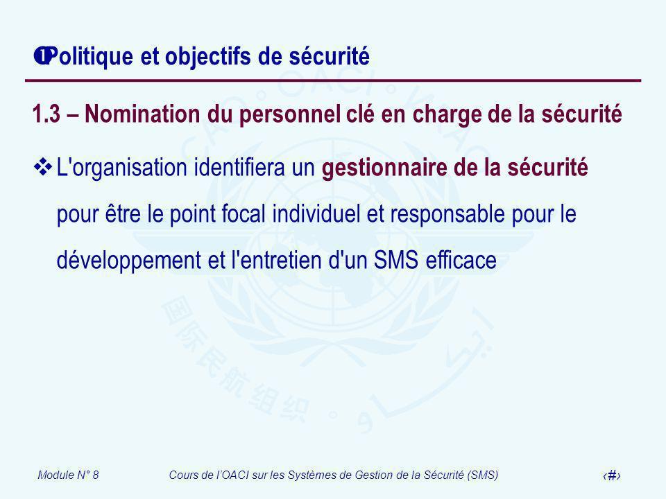 Module N° 8Cours de lOACI sur les Systèmes de Gestion de la Sécurité (SMS) 20 Politique et objectifs de sécurité 1.3 – Nomination du personnel clé en