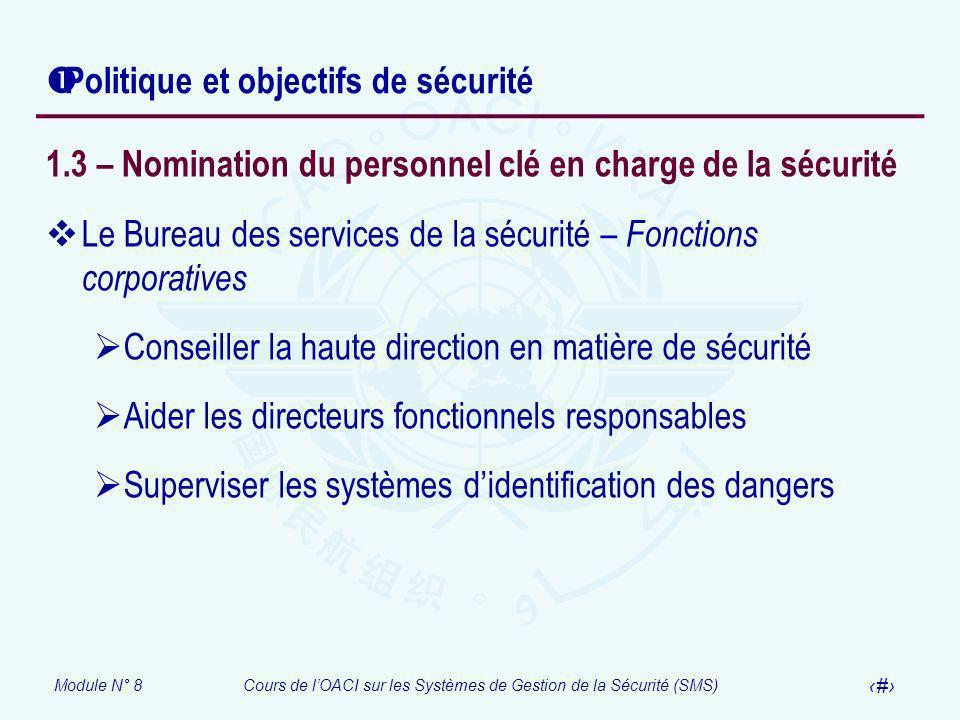 Module N° 8Cours de lOACI sur les Systèmes de Gestion de la Sécurité (SMS) 22 Politique et objectifs de sécurité 1.3 – Nomination du personnel clé en
